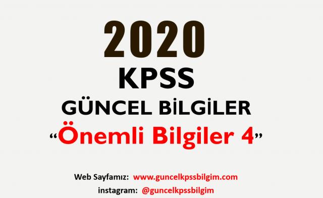 """2020 KPSS Güncel Bilgiler """"Önemli Bilgiler 4"""" PDF İndir"""