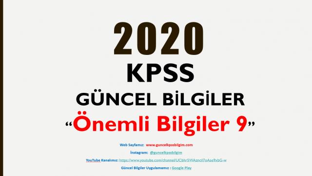 """2020 KPSS Güncel Bilgiler """"Önemli Bilgiler 9"""" PDF İndir"""