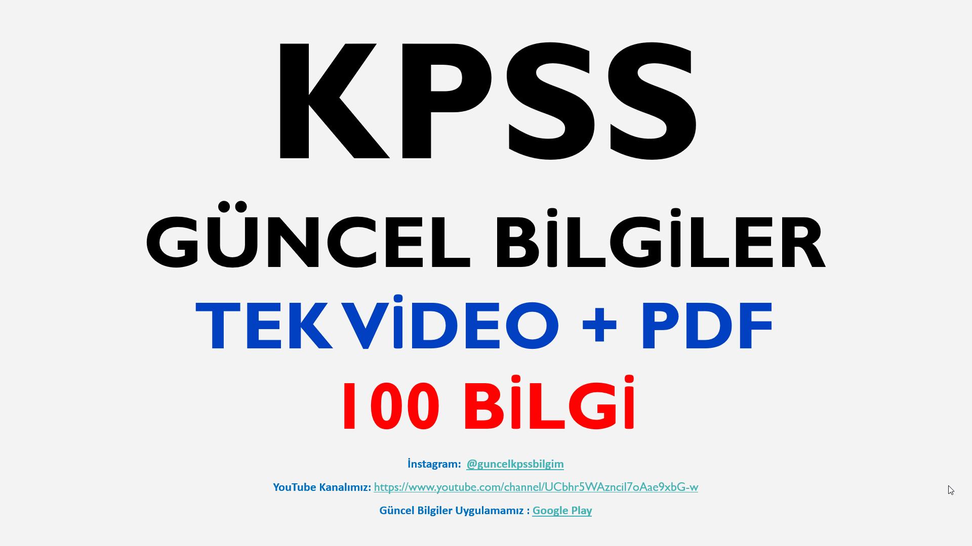 2020 KPSS Güncel Bilgiler SON TEKRAR 100 Bilgi + PDF